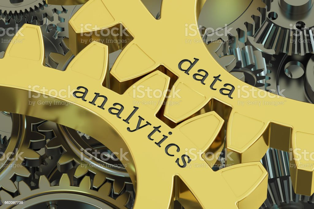 data analytics concept on the gearwheels, 3D rendering royalty-free data analytics concept on the gearwheels 3d rendering stock vector art & more images of analyzing
