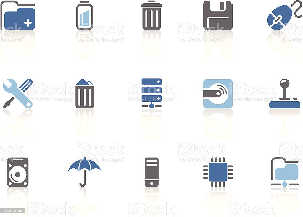 Data and network icons | azur series royalty-free stock vector art