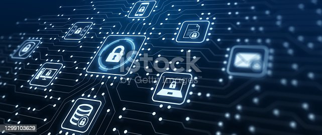 istock Data Protection and Cyber Security on Internet Server Network with Secure Access to Protect Privacy against Attacks. Illustration with Electronic Circuit Board Connections and Cybersecurity Icons. 1299103629