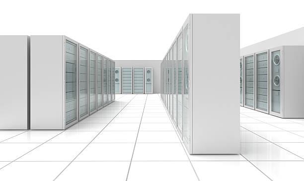 datacenter 3d (isolated on white) - computer server room stock illustrations