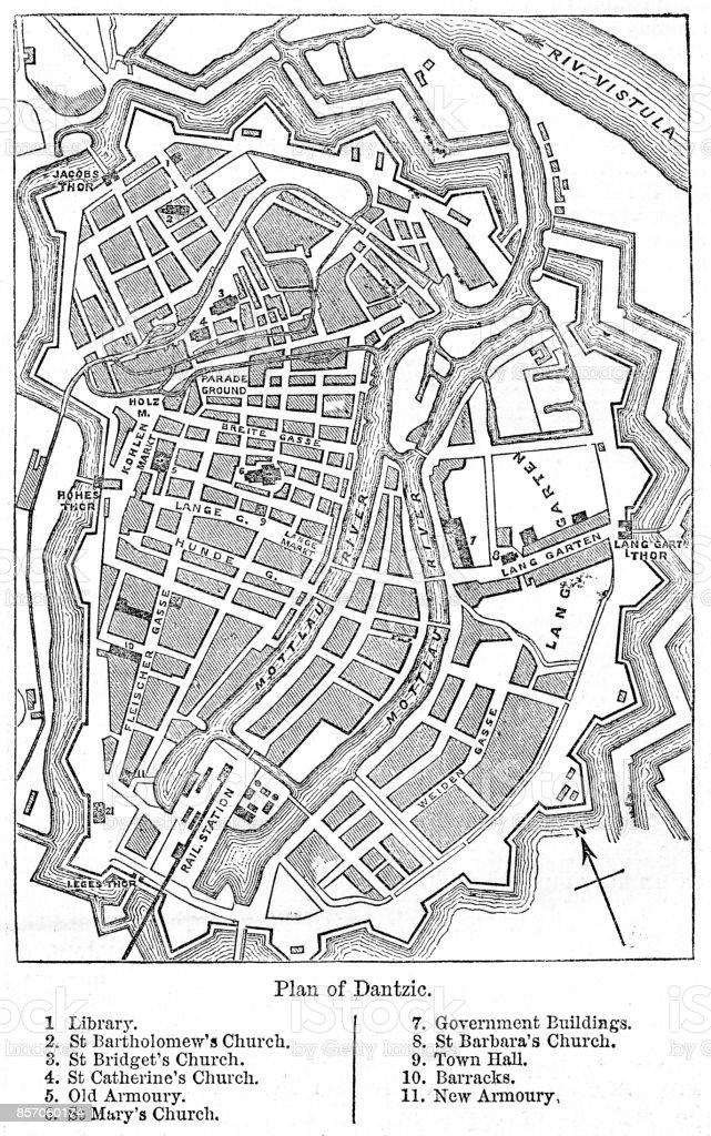 Datzig Gdansk city plan 1884 vector art illustration