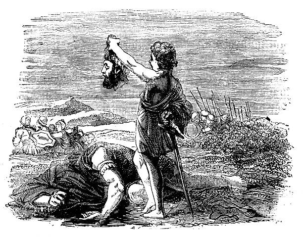 david and goliath antique engraved image - salud stock illustrations