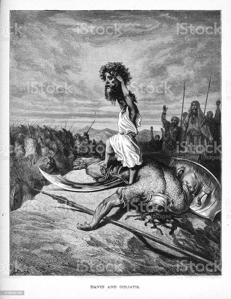 David And Goliath Biblical Engraving Stock Illustration ...