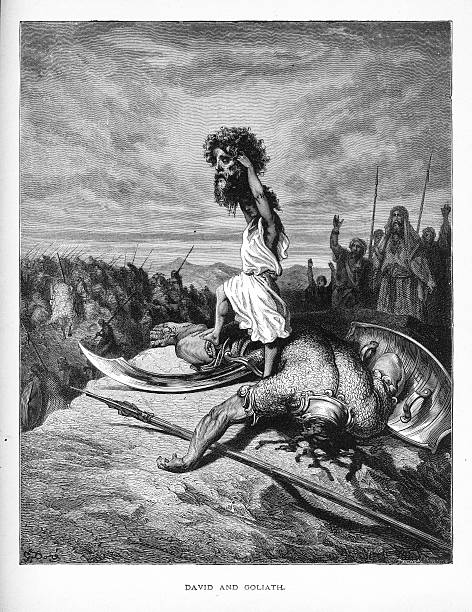 david and goliath biblical engraving - salud stock illustrations