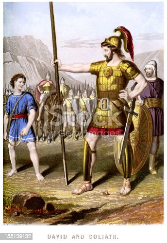Vintage colour lithograph from 1880 showing David and Goliath. Goliath of Gath is a figure in the Hebrew Bible, a giant Philistine warrior, he is famous for his combat with the young David, the future king of Israel.