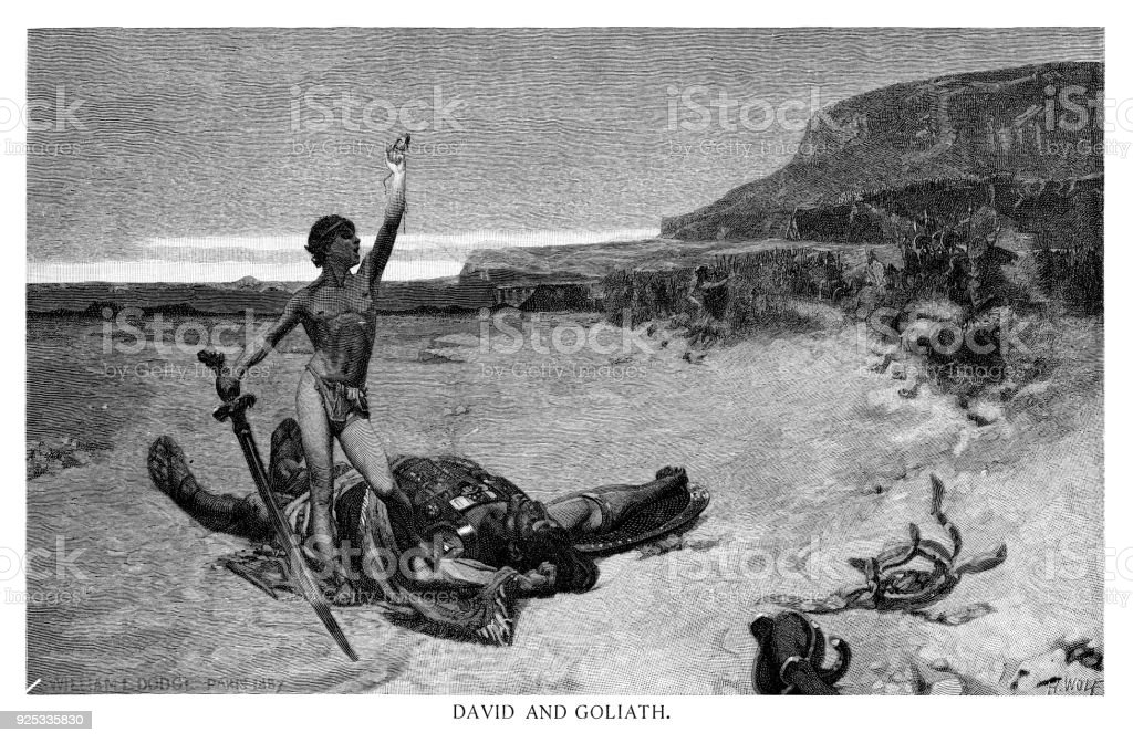 David And Goliath Stock Vector Art More Images Of 19th Century