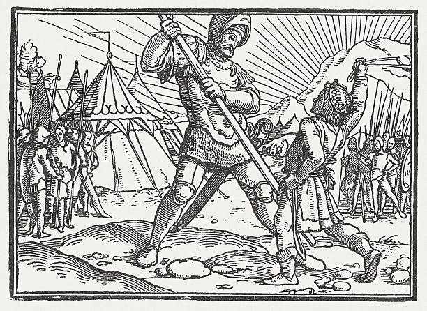 david and goliath, wood engraving, by hans holbein, published 1881 - salud stock illustrations