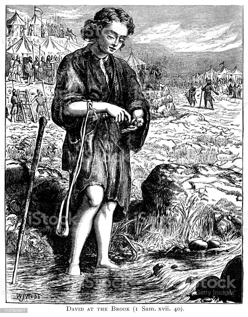 David at the brook, from the Book of Samuel vector art illustration