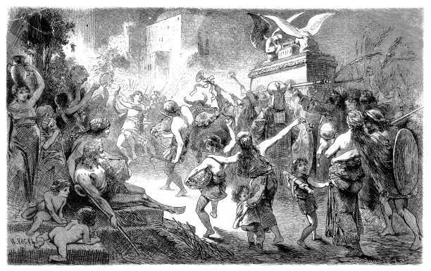 David Brings the Ark to Jerusalem (2 Samuel 6) vector art illustration