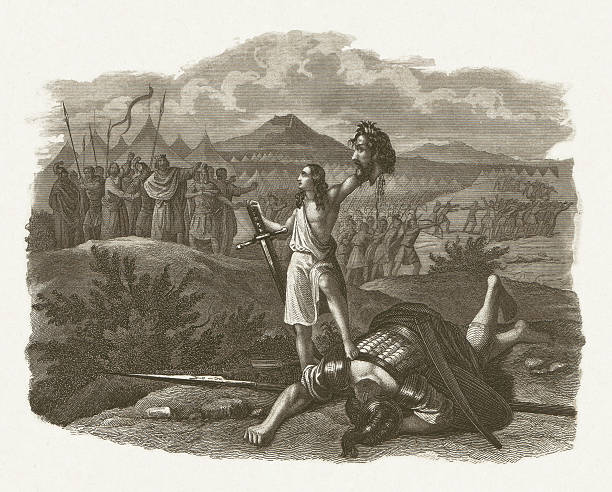 david defeated the giant goliath (1 samuel 17), published c.1860 - salud stock illustrations