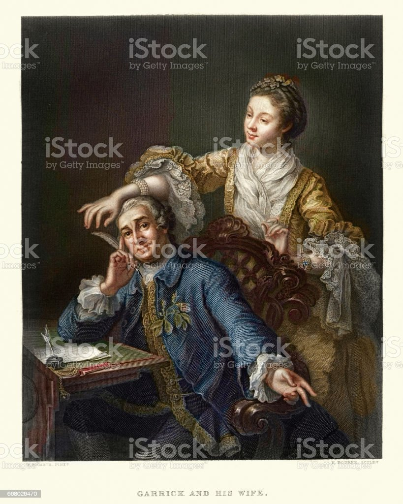 David Garrick with his Wife Eva-Maria Veigel 17th Century vector art illustration
