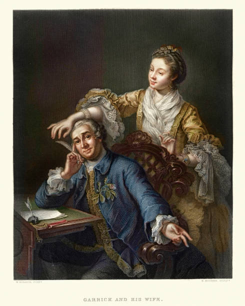 stockillustraties, clipart, cartoons en iconen met david garrick with his wife eva-maria veigel 17th century - 18e eeuw