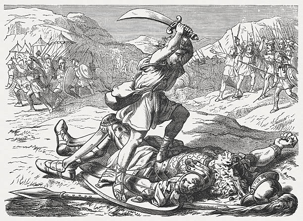 david kills goliath (1 samuel 17), wood engraving, published 1877 - salud stock illustrations