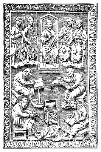 David, King of the Jews, 1004 - 965 BC, dictating psalms, wood engraving after book cover, Frankish carving from ivory, 9th century, Louvre