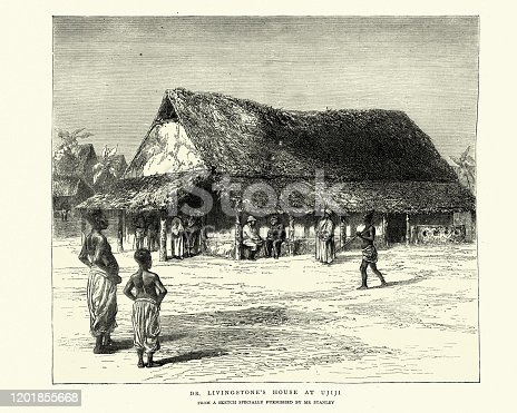 Vintage engraving of David Livingstone's House at Ujiji, Tanzania, 1872