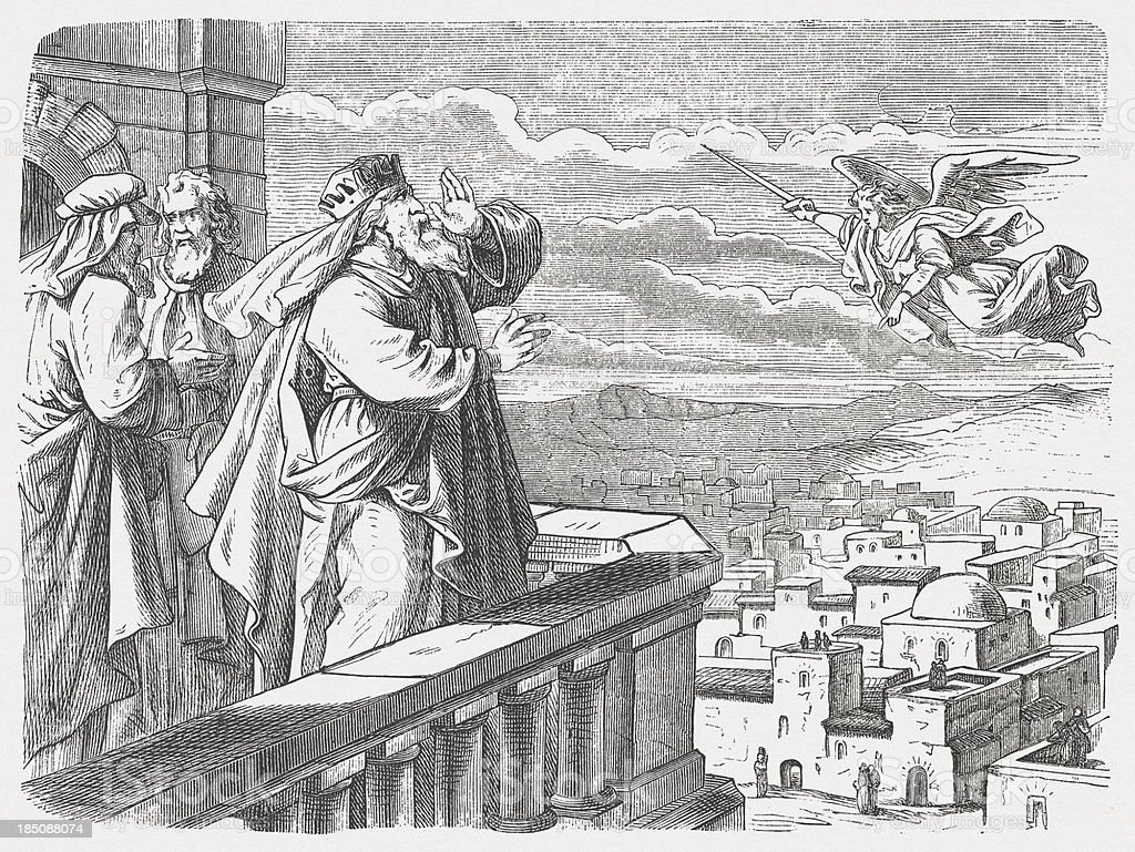 "David sees the Angel of Pestilence ""So the Lord sent a plague through Israel, and 70,000 Israelite men died.  God sent an angel to ravage Jerusalem. As he was doing so, the Lord watched and relented from his judgment. He told the angel who was destroying, aThataas enough! Stop now!aA Now the Lordaas angel was standing near the threshing floor of Ornan the Jebusite. David looked up and saw the Lordaas messenger standing between the earth and sky with his sword drawn and in his hand, stretched out over Jerusalem. David and the leaders, covered with sackcloth, threw themselves down with their faces to the ground. (1 Chronicels, Chapter 21, 14-16). Woodcut after a drawing by Julius Schnorr von Carolsfeld (German painter, 1794 - 1872) from my archive, published in 1877."" Angel stock illustration"
