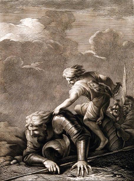 david savaşta goliath'ı devirti - mimari illüstrasyonlar stock illustrations