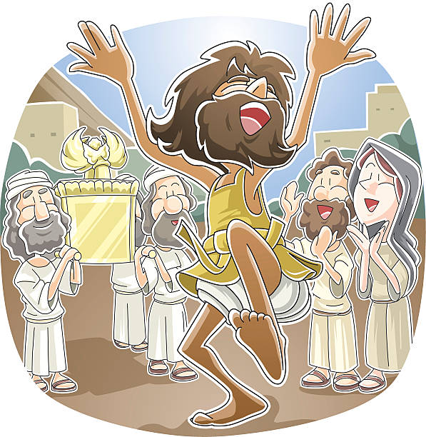David was dancing before the LORD vector art illustration