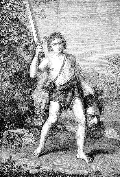 david with goliath's head by domenichino - salud stock illustrations