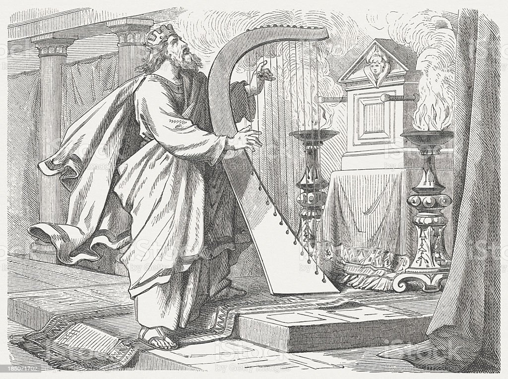 David's praise and thanksgiving, wood engraving, published in 1877 royalty-free stock vector art