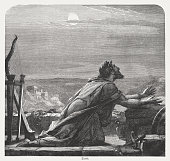 istock David's Prayer, wood engraving, published in 1886 831210474