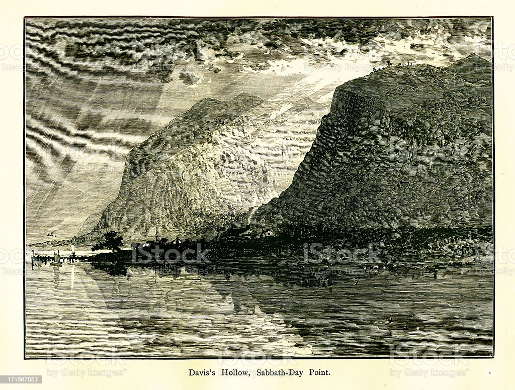 Davis's Hollow, Sabbath Day Point, Lake George, New York vector art illustration