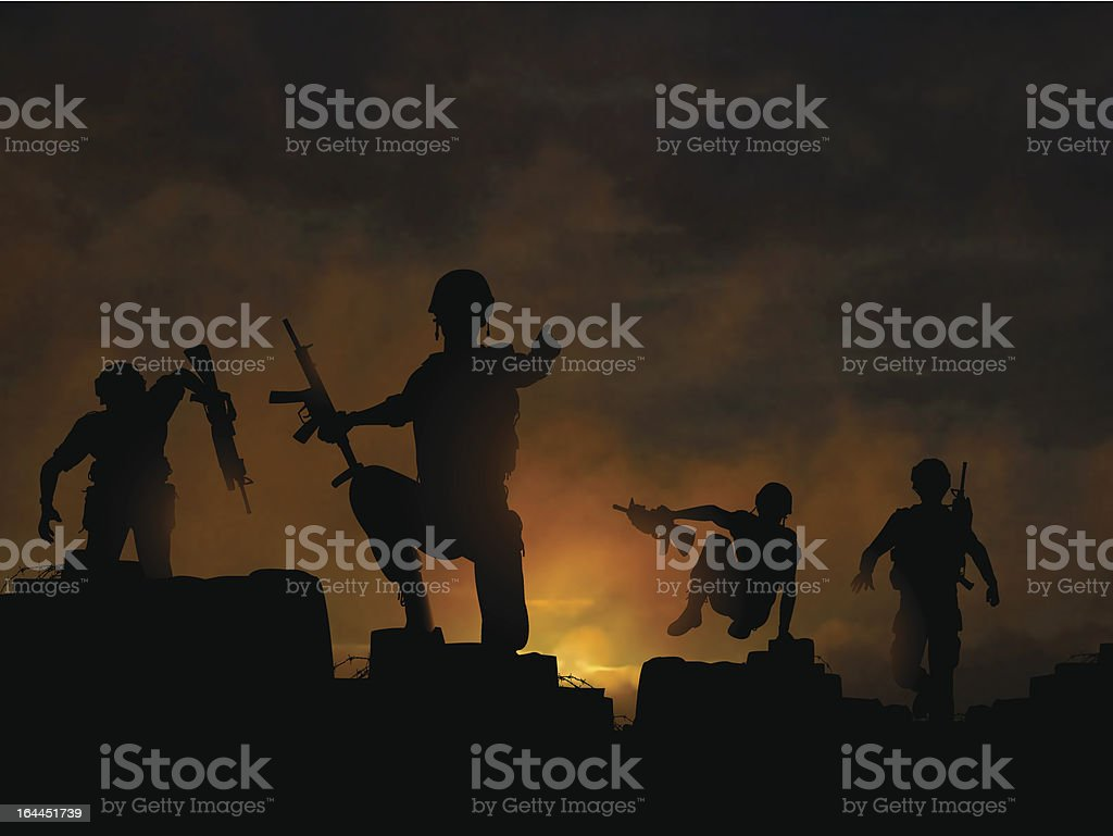 Dawn offensive vector art illustration