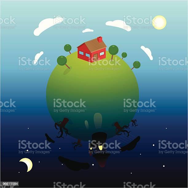День И Ночь Планета — стоковая векторная графика и другие изображения на тему Без людей