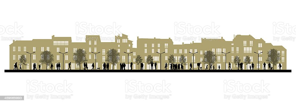 day city life on a street facade background vector art illustration
