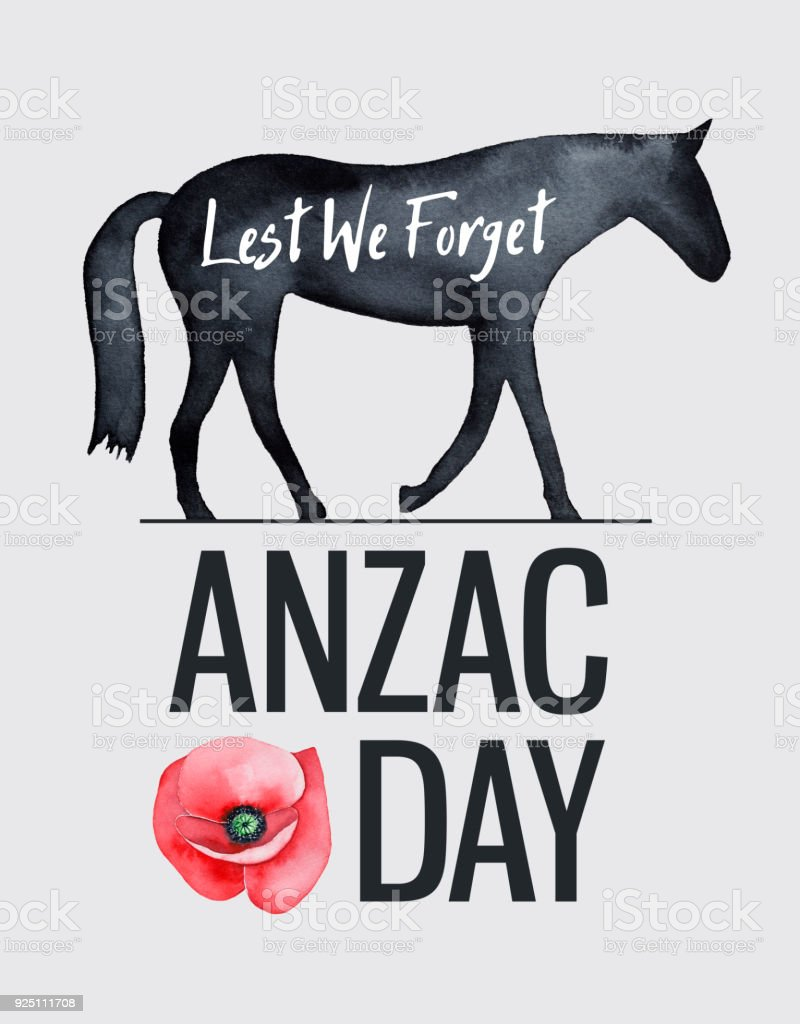 ANZAC Day illustration with walking horse silhouette, 'Lest we forget' lettering, main caption and red poppy flower symbol. vector art illustration