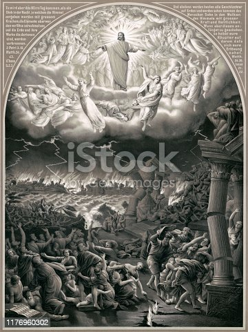 A vintage Biblical illustration featuring a depiction of the Day of Judgment where all will stand to be judged for their actions on Earth by God at the Second Coming of Jesus Christ.