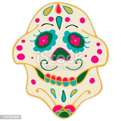 istock Day of the Dead Printable Sticker. Dia de los Muertos. Sugar Skull with Colorful Mexican Elements and Flowers. 1347829081