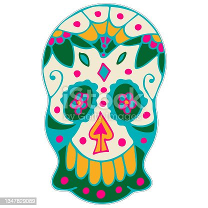 istock Day of the Dead Printable Sticker. Dia de los Muertos. Sugar Skull with Colorful Mexican Elements and Flowers. 1347829089