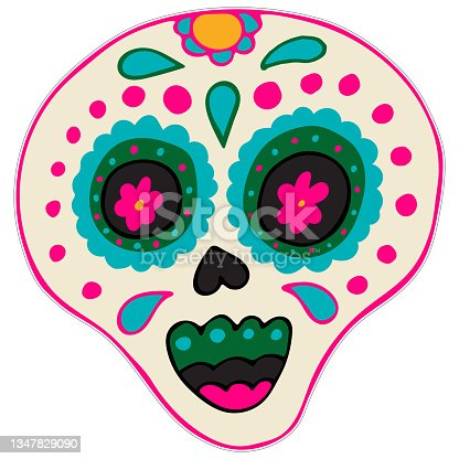 istock Day of the Dead Printable Sticker. Dia de los Muertos. Sugar Skull with Colorful Mexican Elements and Flowers. 1347829090