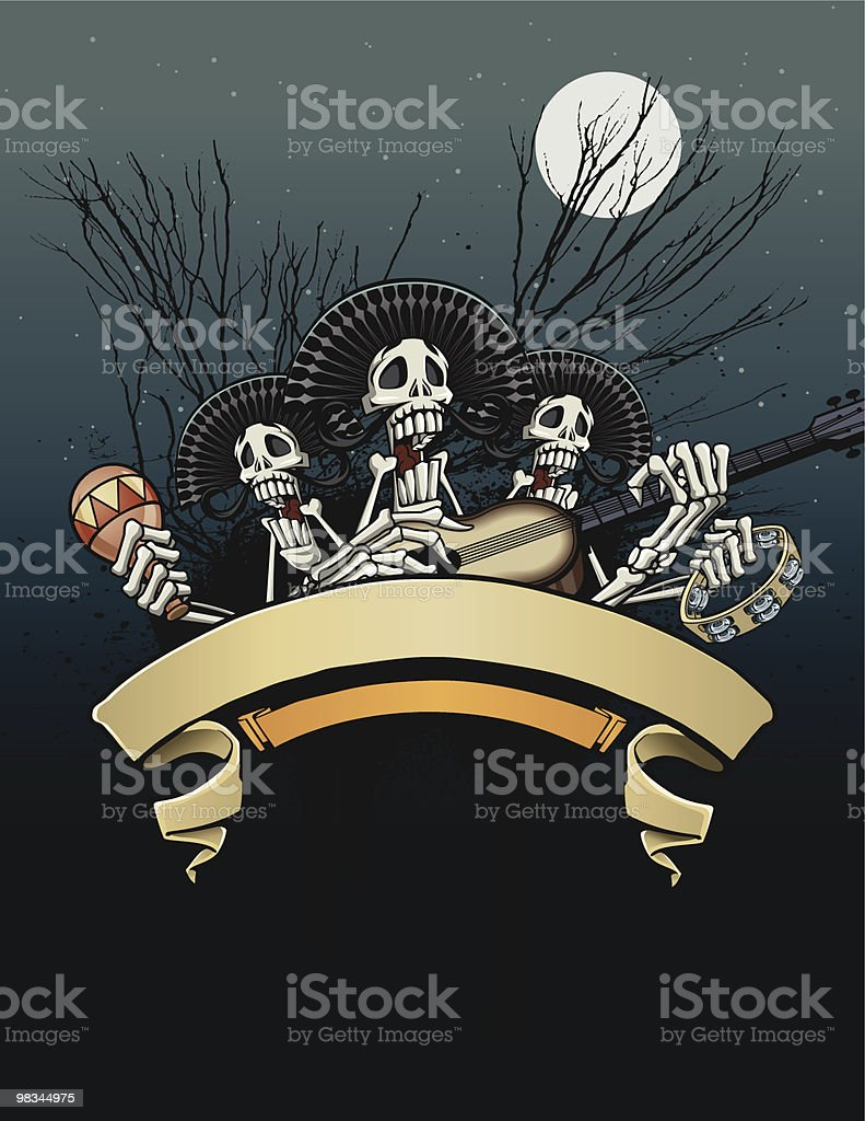 Day of the Dead - Skeleton Fiesta royalty-free day of the dead skeleton fiesta stock vector art & more images of acoustic guitar