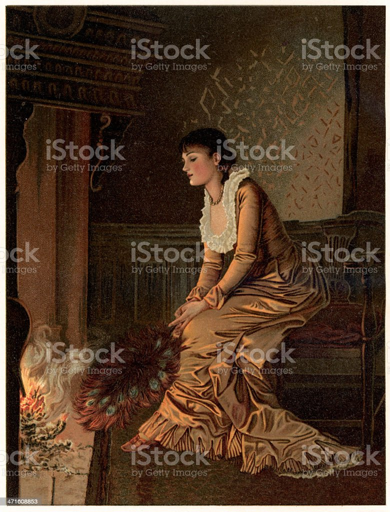 Daydreaming by the Fireside vector art illustration