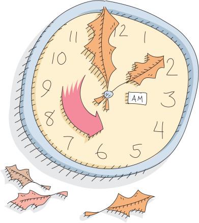 Daylight Savings Time Fall Back Stockvectorkunst en meer beelden van Blad