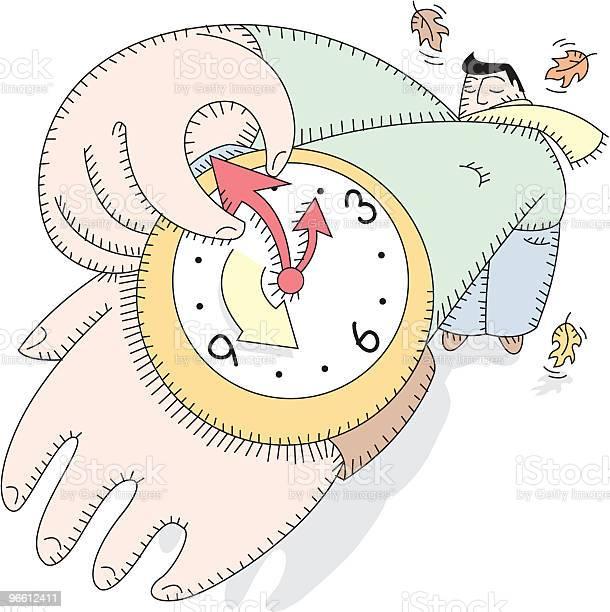 Daylight Savings Time Man Sets Watch-vektorgrafik och fler bilder på Armbandsur