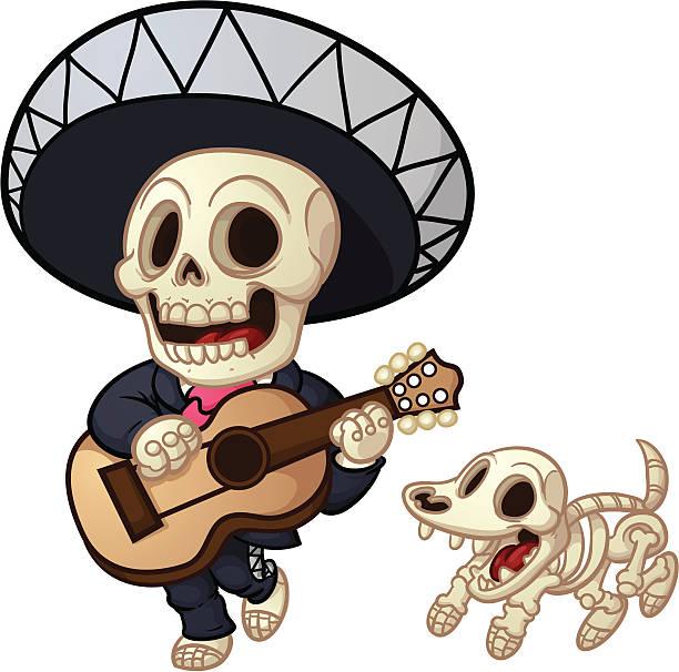 dead mariachi - animal skeleton stock illustrations