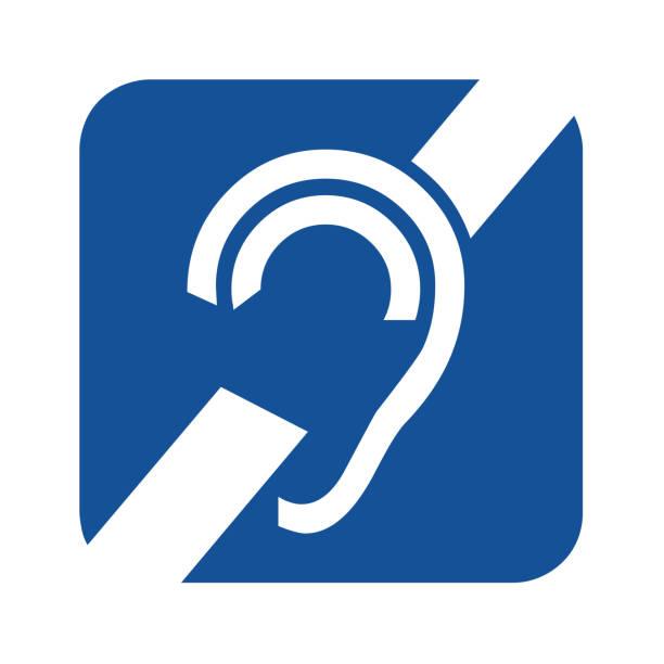illustrazioni stock, clip art, cartoni animati e icone di tendenza di deafness symbol icon - sordità