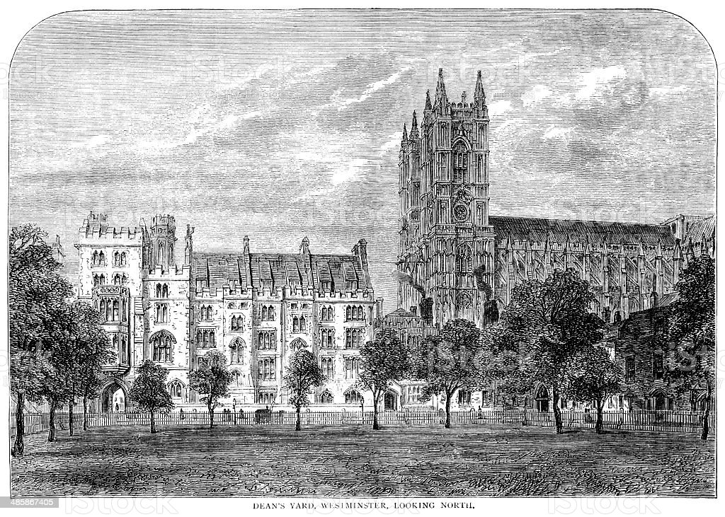 Dean's Yard, Westminster, looking North royalty-free deans yard westminster looking north stock vector art & more images of 1870-1879