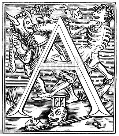 The letter A depicting Death and the Fool of a Dance of Death Alphabet by John Stow (circa 16th century) designed after Hans Holbein's letter R from the Works of William Shakespeare. Vintage etching circa mid 19th century.