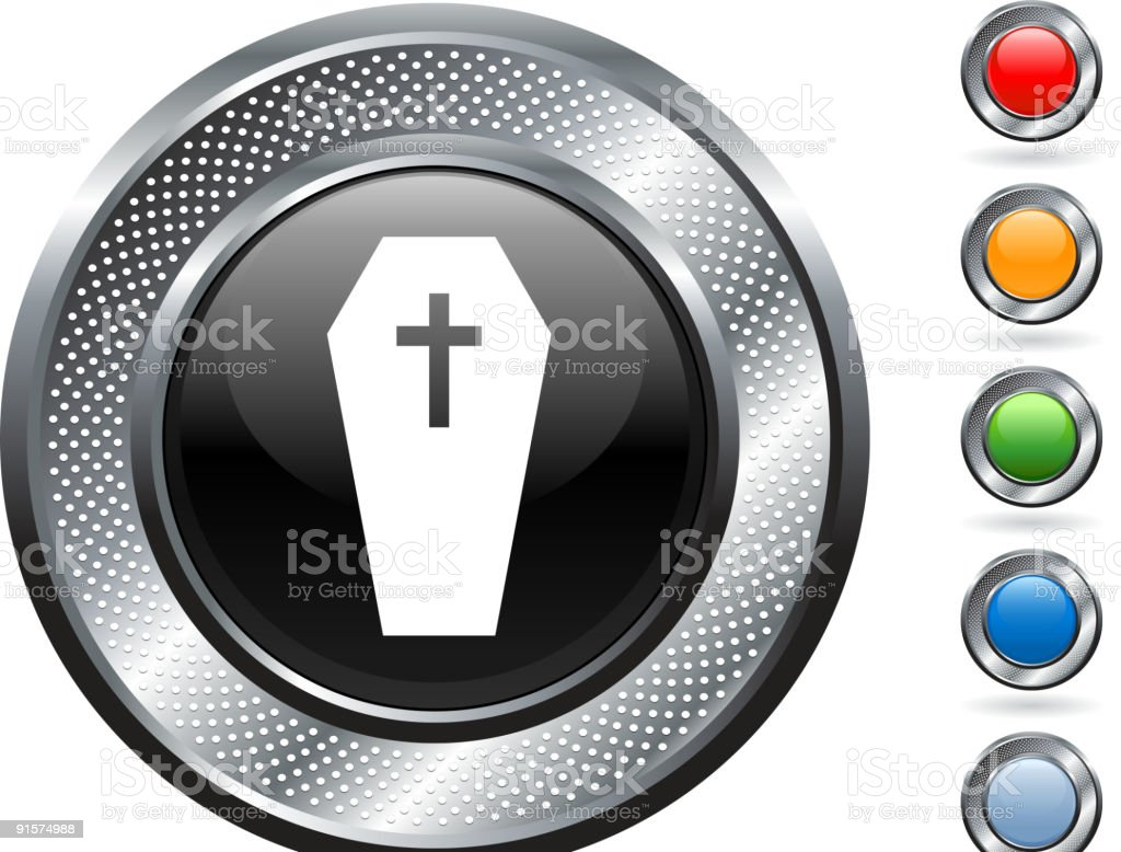 death, coffin royalty free vector art on metallic button royalty-free stock vector art