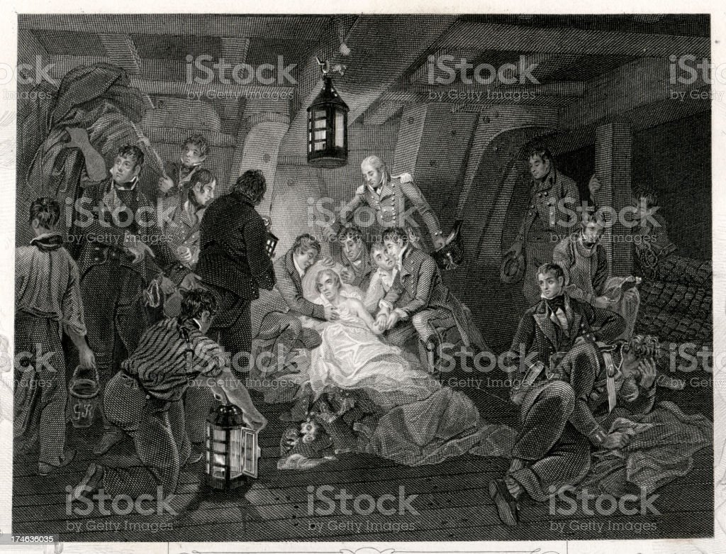 Death of Admiral Horatio Nelson royalty-free stock vector art