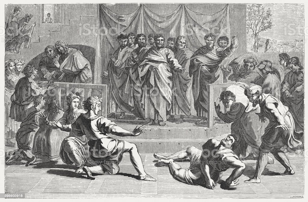 Death of Ananias (Acts), wood engraving after Raphael, published 1855 vector art illustration