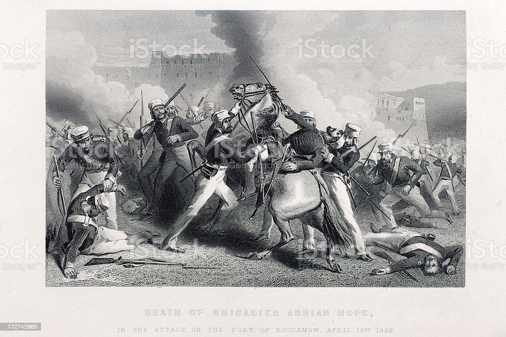Death of Brigadier Adrian Hope vector art illustration