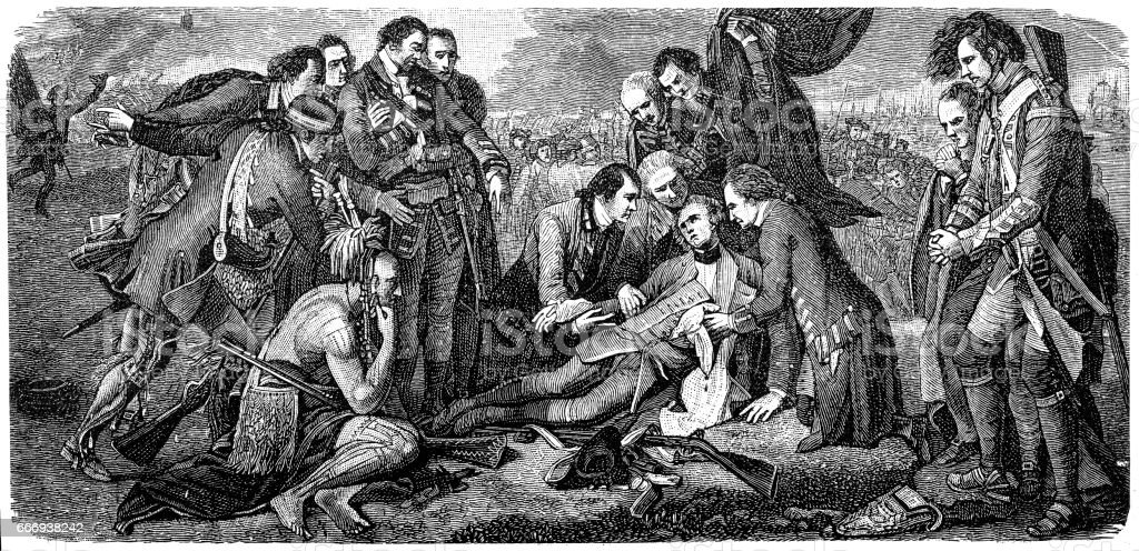 Death of General Wolfe in the Battle of Quebec vector art illustration