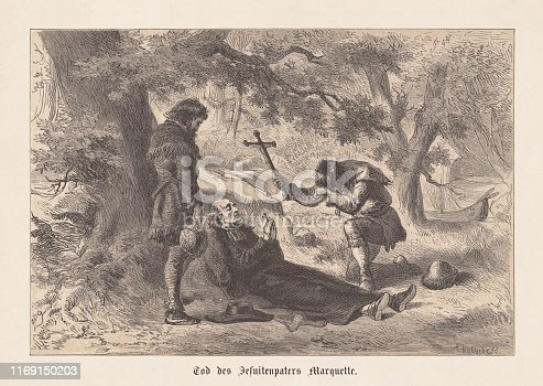 The death of Jacques Marquette (French-American Jesuit missionary, 1637-1675). Wood engraving after a drawing by Felix Darley (American illustrator and engraver, 1824 - 1888), engraved by Albert (Alfred) Bobbett (American engraver, 1813 - 1888), published in 1876.
