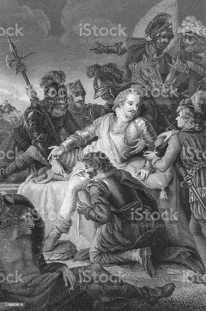 Death of Philip Sidney vector art illustration