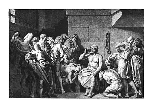 bildbanksillustrationer, clip art samt tecknat material och ikoner med death of socrates (antique engraving) - ancient white background